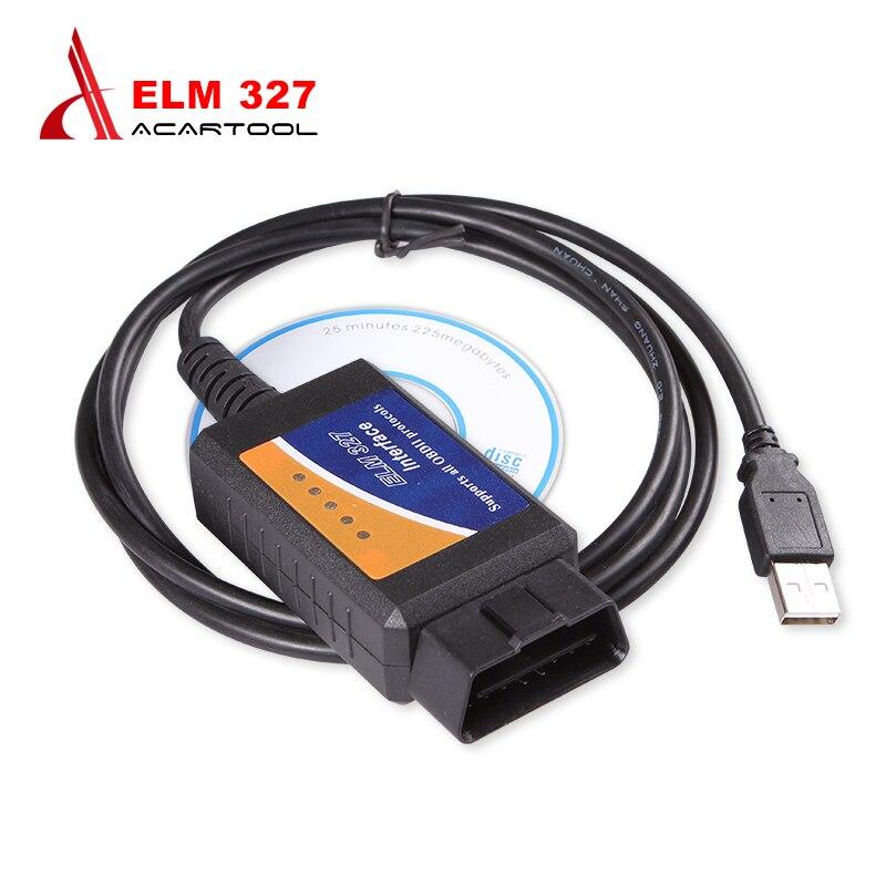 2018 OBDII protocolo ELM327 USB Cables adaptador para la mayoría OBD2 vehículos escáner V 1,5 ELM 327 USB Scan herramientas de diagnóstico negro