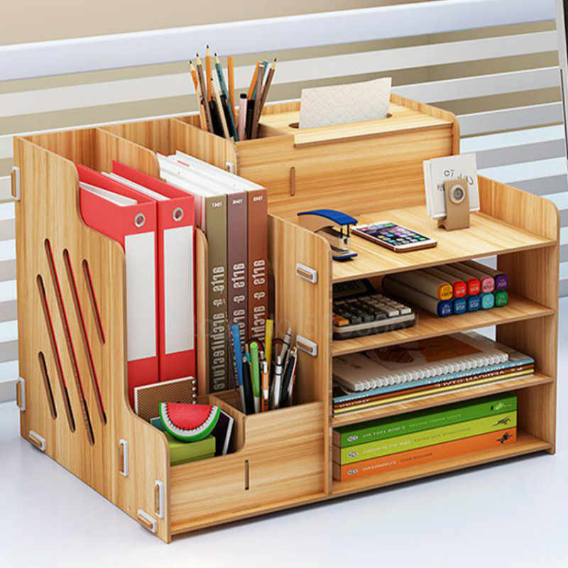 File box simple multi-layer folder A4 file pen holder office storage information frame student bookshelf table portfolio bag rac