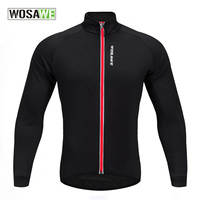WOSAWE Autumn Sport Warm Fleece Sweater Cycling Breathable Jerseys Full Zipper Bicycle Riding Jackets Coats Fitness Jersey