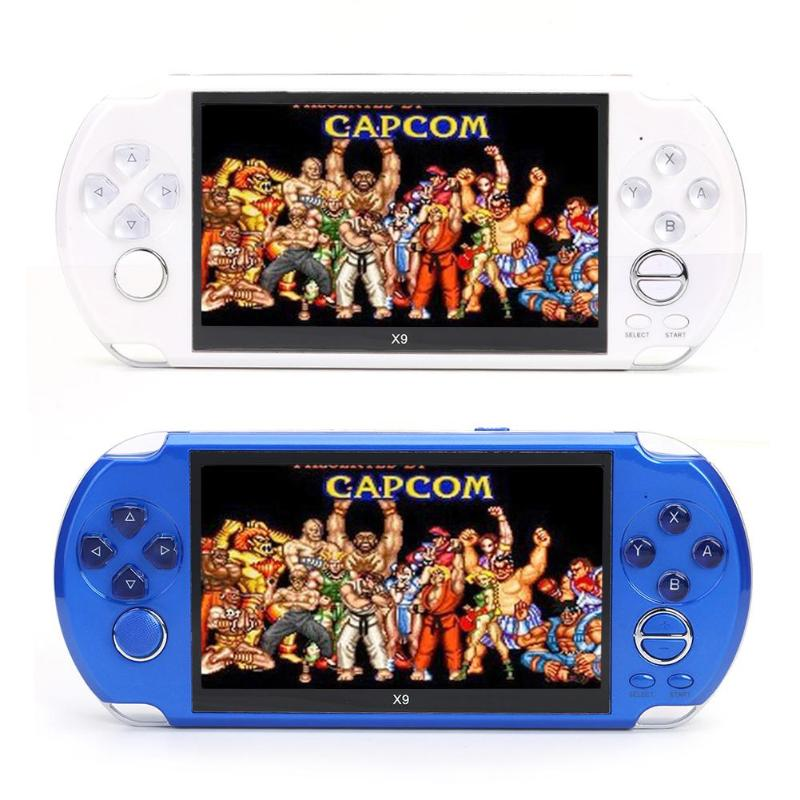 ALLOYSEED X9 5 inch Large Screen 8G Memory Game Handheld Player for GBA NES Palm Support 6 Game Progress Archives playstation portable