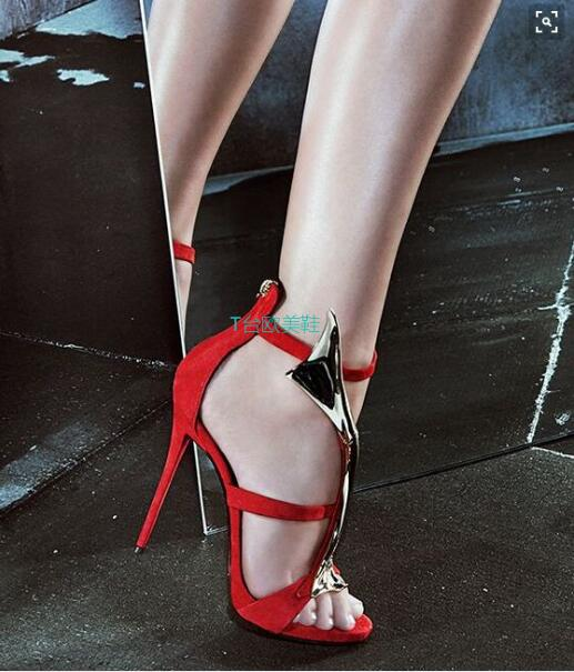 Summer New Arrival Sexy Red Flock Women Stilettos Metal Decoration Open toe Woman Sandals Ankle Strap Party Shoe Zapatos Mujer