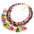 Vintage Women Collar Fabric Rope Colorful Tassels Necklace Ethnic Jewelry Handmade Braided Tassel Bohemian Necklaces PWN0133