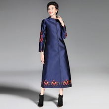 Trench Coat Women New High Quality Embroidered Round Neck Covered Button Long Sleeved Plus Size Women's Clothing M-XXXL