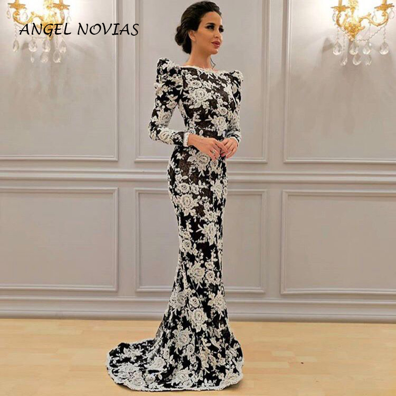 Long Sleeves Black and White Lace Muslim Abendkleider Dubai Arabic   Evening     Dress   2019 Robe De Soiree Long