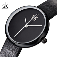 SK Watches Women Quartz Clock Simple Fashion Black Leather Strap Woman Watch Casual Wristwatches 2017 Relogio