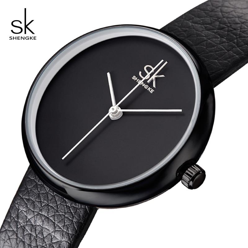 SK Watches Women Quartz Clock Simple Fashion Black Leather Strap Woman Watch Casual Wristwatches 2017 Relogio