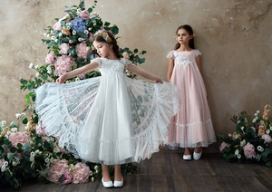 Image 3 - Flower Girl Dresses Lace 3D Flower Appliques Cap Sleeves Girls A line Gowns Birthday Party Toddler 2 11Y