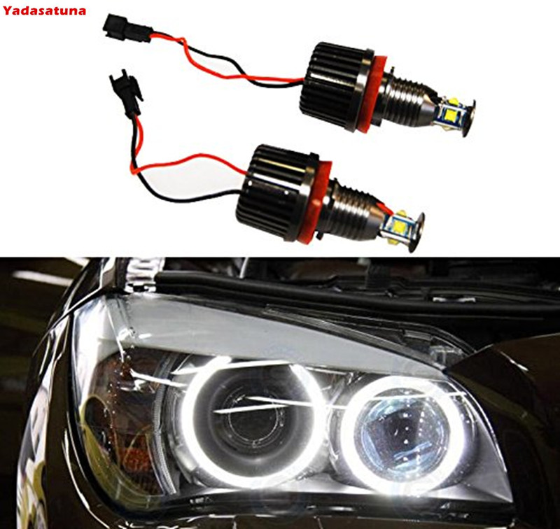 2 Pieces H8 40W CREE Chips LED Angel Eye Halo Ring Bulbs 6000K White Headlights font