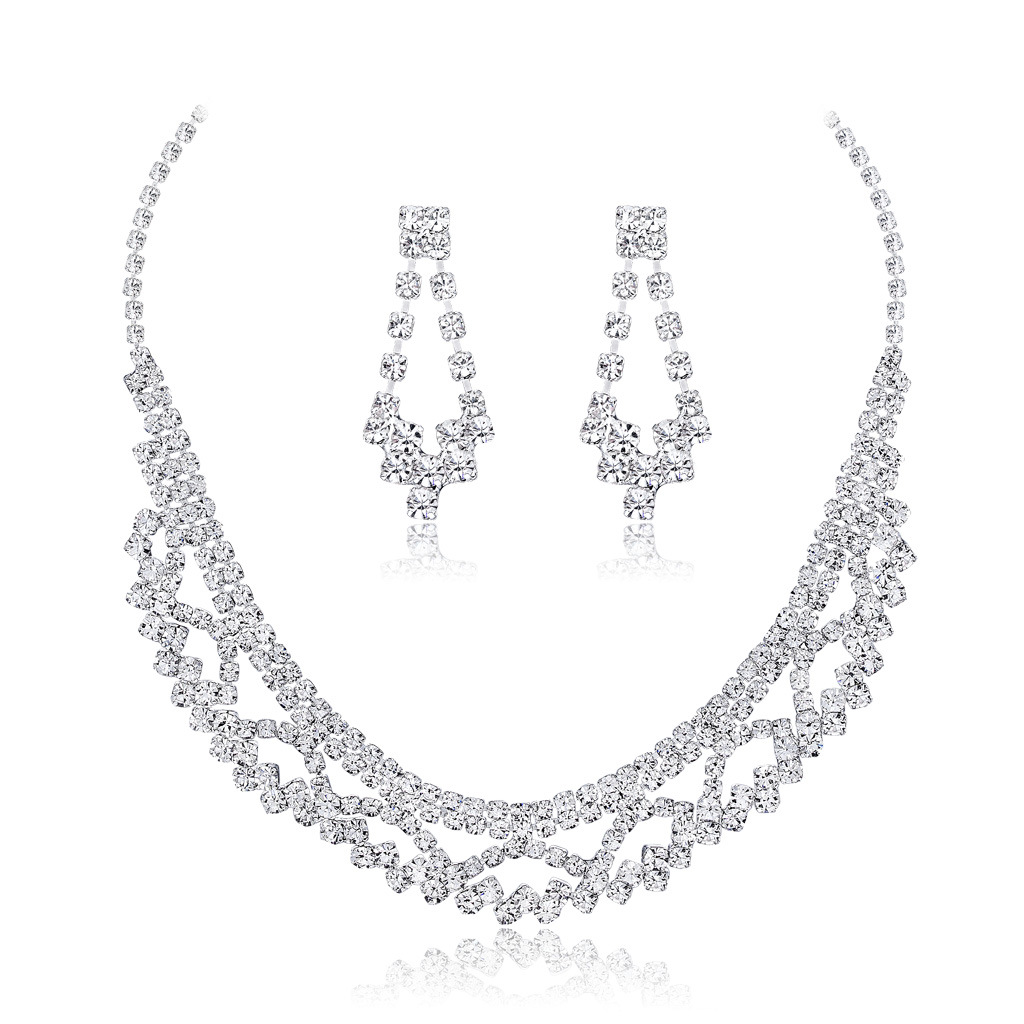 New Necklace Earrings two sets of fashionable temperament European and American bride Necklace Set Wedding Banquet jewelry(China)