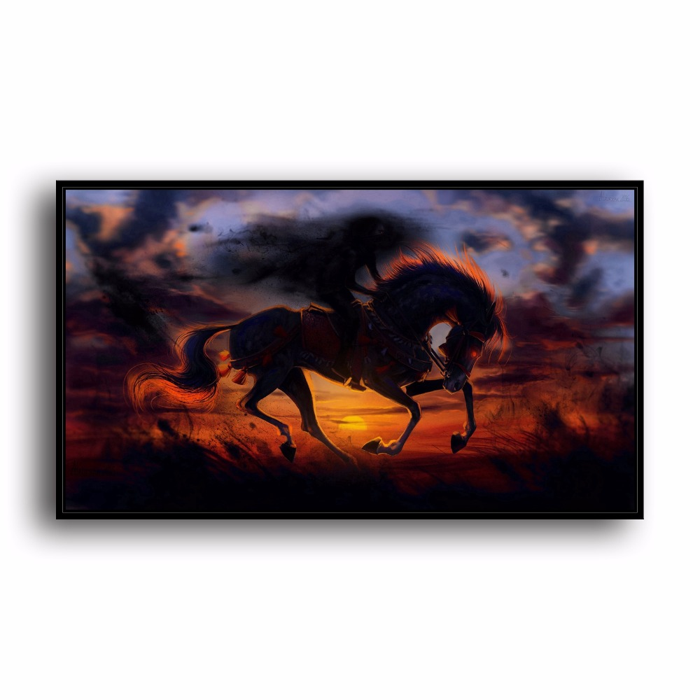 Evil Riding Horse Sunset Natural Scenery Animal. HD Canvas Print Home decoration Living Room bedroom Wall pictures Art painting