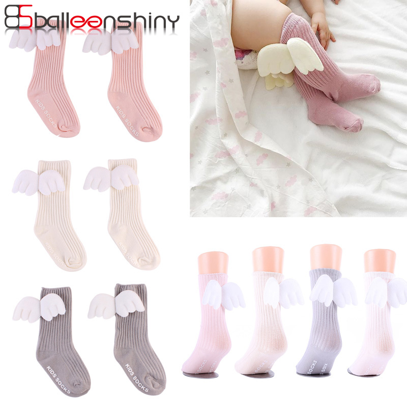 BalleenShiny New Style Baby Angel Wings Knee-high Socks Fashion Toddler Leg Warmers Children Cotton  Soft Hot Sale Spring Socks