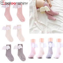 BalleenShiny New Style Baby Angel Wings Knee-high Socks Fashion Toddler Leg Warmers Children Cotton  Soft Hot Sale Spring