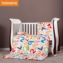 Baby Bedding Set 100% Cotton Letters & Numbers Prints Pillowcase Duvet Cover Nursery Cot Bed Quilt Pillow Mattress with Filling