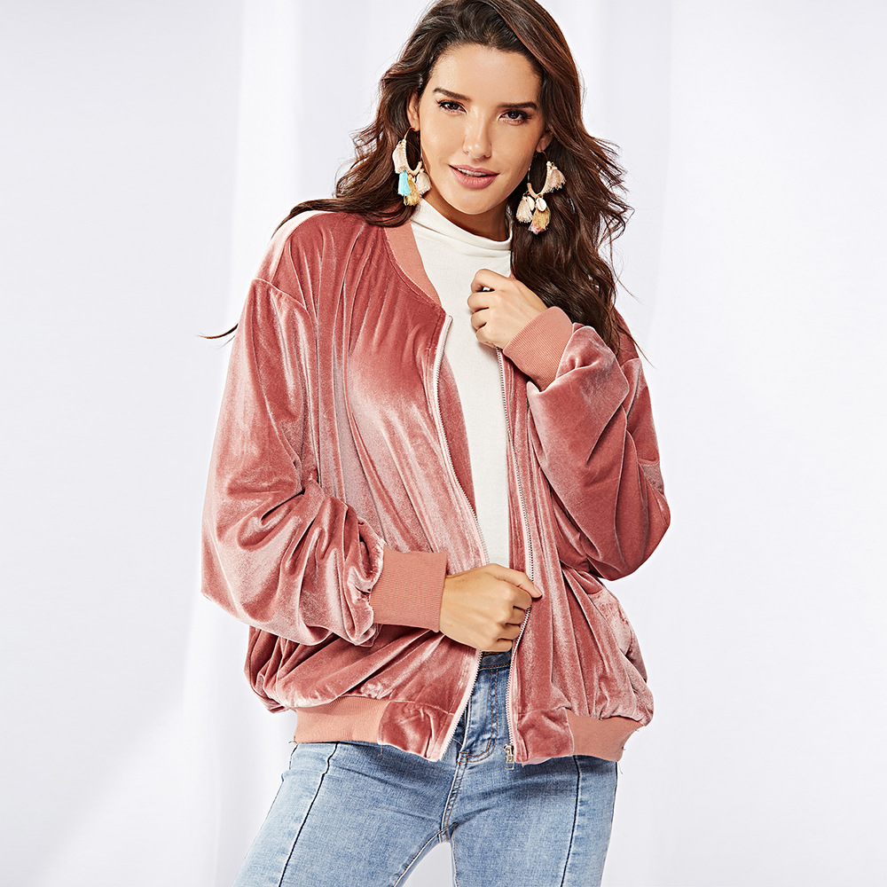2018 Autumn Velvet Jackets Zipper Long Sleeve Coats Solid Color ...