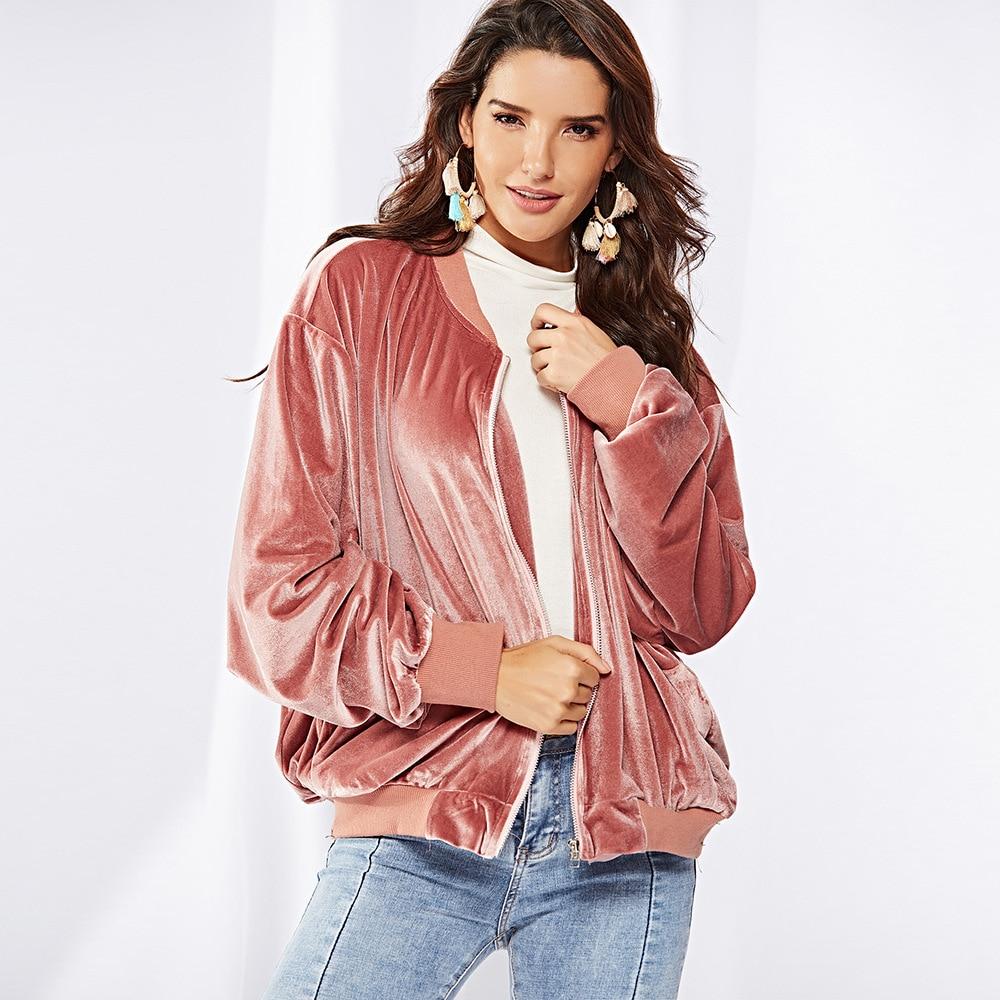 2018 Autumn Velvet   Jackets   Zipper Long Sleeve Coats Solid Color Thick Winter   Basic     Jackets   Warm Casual Outerwear Velour   Jacket