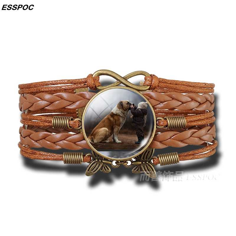 Lovely Animal Leather Bracelet Pet Dog Glass Dome Copper Brown Multi-layer Bracelet Dog Lover Jewelry Summer Fashion Accessories