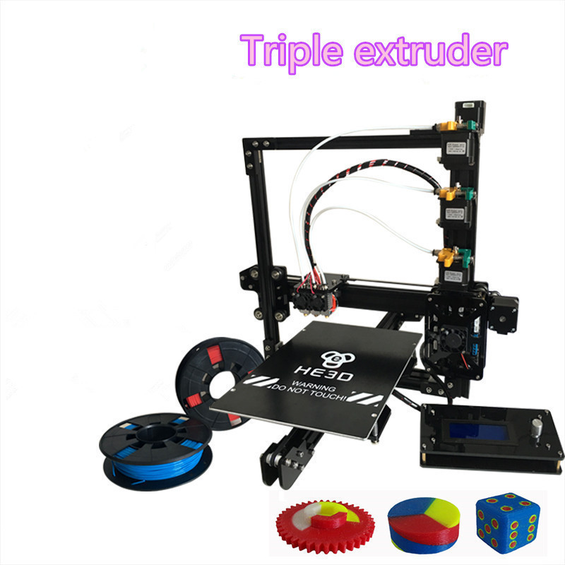 HE3D the Newest EI3 triple nozzle large print size 3D printer kit with 2rolls filament+8GB SD card as gift 2018 flsun i3 3d printer diy kit dual nozzle touch screen large printing size 300 300 420mm two roll filament for gift