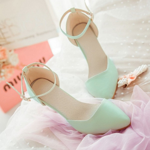 fd1cd280451 Fashion cool sweet sandals pointed toe high-heeled shoes sexy mint green  gentlewomen all-match women s thin heels shoes Hot sell