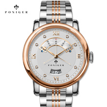 Switzerland Luxury Brand PONIGER Men's Watch Japan NH35A Automatic Mechanical MOVT Watches Men Double Dial Sapphire Clock P719-8 oulm 3 movt dial