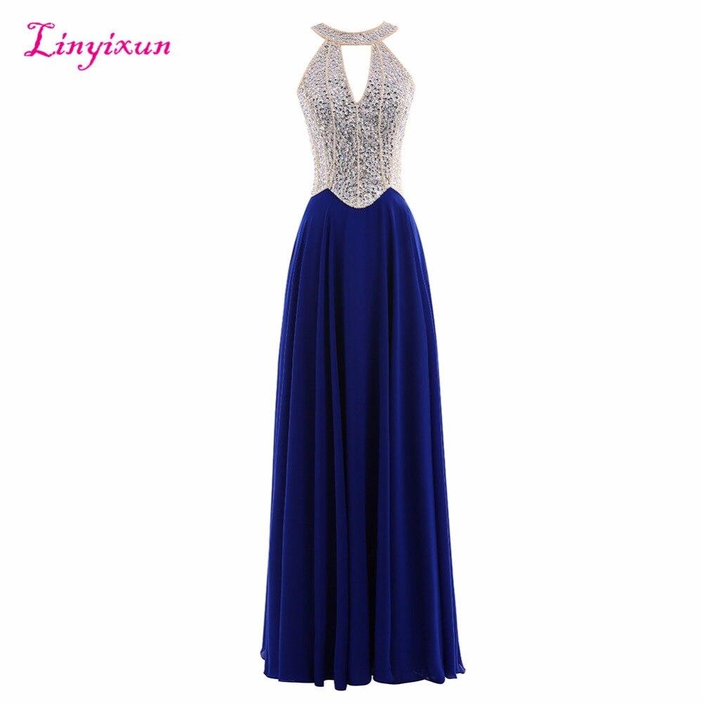 Linyixun Photo réelle 2017 nouvelles robes de bal licou bleu marine avec perles Sexy Corset transparent bleu Royal dos nu longue robe de soirée