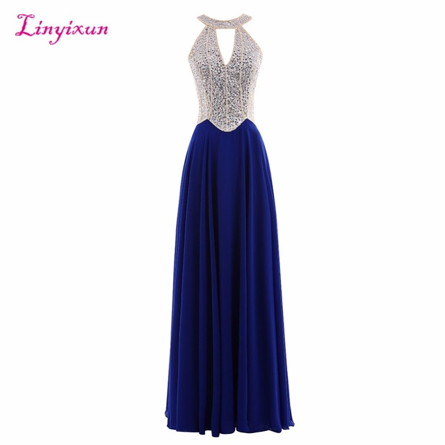 fc045050bf3 Linyixun Real Photo 2017 New Navy Blue Halter Prom Dresses With Beading  Sexy Sheer Corset Royal Blue Backless Long Evening Dress