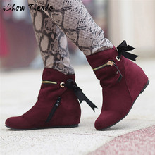 Women Heighten Boots Pointed Toe Shoes Zip Bow Boots Classic Ankle Dance Shoes Middle Heel Hot Selling Women Professional Shoes