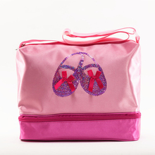 pink Embroidered Gym Bags Ballet Dance Bag Women Girls Sports Backpacks Rucksack sequin For Child