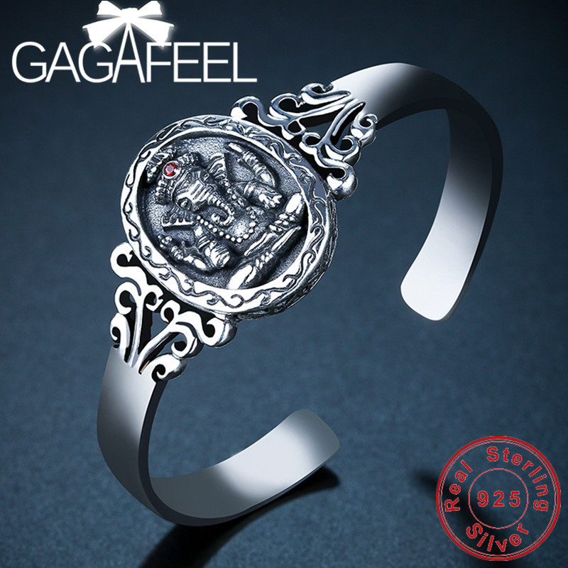 GAGAFEEL Elephant Bangles S925 Sterling Silver Bracelets Fashion Jewelries for Men Women Wholesale High Quality