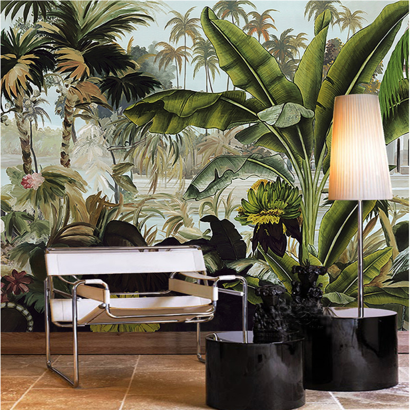 Beibehang Custom 3d Wallpaper Green Coconut Tree Tropical Rain Forest Plant Three-dimensional Oil Painting Sofa Background Wall