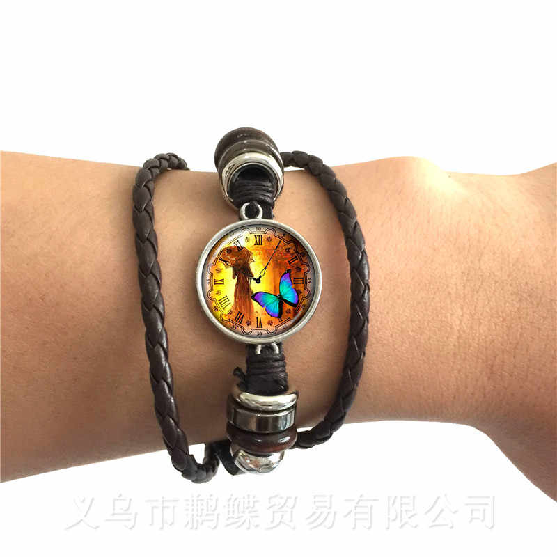New Beautiful Blue Butterfly Adjustable Bracelet Birds Art Picture Glass Cabochon Dome Black/Brown 2 Color Leather Cords Bangle