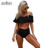 Hotapei High Waist Swimsuit Ruffle Off Shoulder Bikini Bathing Suit Plus Size Swimwear Women New Push