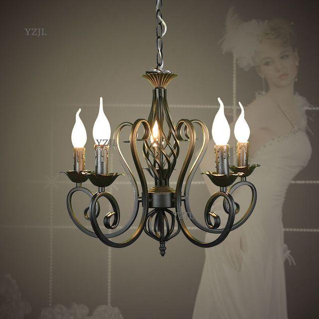 Chandeliers creative simple black white candle garden lighting chandelier bedroom restaurant lighting chandelier iron Lighting