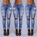 New 2016 Hot Fashion Ladies Cotton Denim Pants Stretch Womens Bleach Ripped Skinny Jeans Denim Jeans For Female free shipping