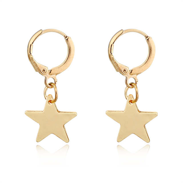 74f36946f6c73 1pair Cute Gold Color Small Star Pendant Hoop Earring For Women Girl  Fashion Circle Five-pointed Star Earrings Jewelry E436-3