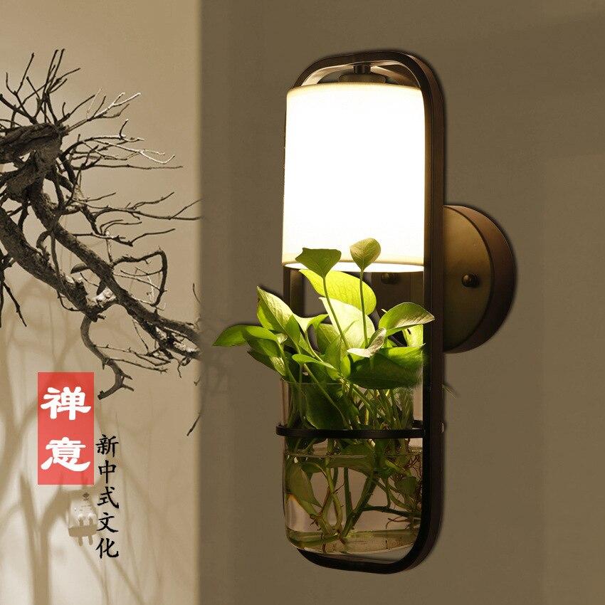 Américain simple créatif en pot plante verre applique lampe de chevet salon salle à manger TV décoration murale applique murale