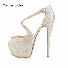 Women Hot High Heel Peep Toe Platform Pumps Strapy Buckle Ladies Shoes White Shiny Glitter Stilettos Large Size 46