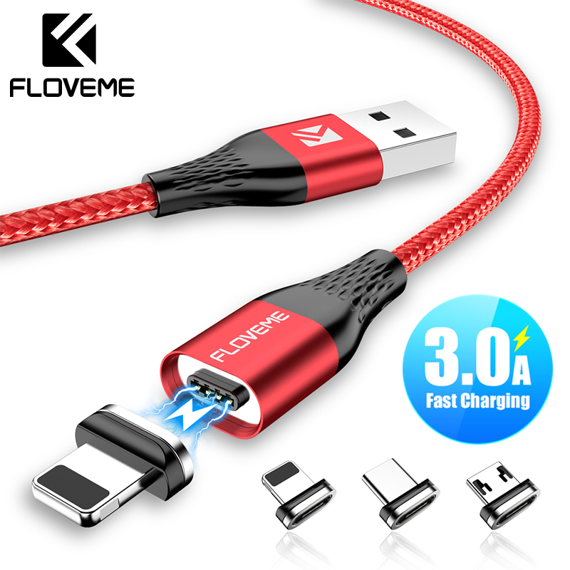 FLOVEME 3A Magnetic Charger Cable For iPhone Micro USB Type C Cable Magnet Fast Charging Charge Microusb TypeC Cable For Samsung storage cable