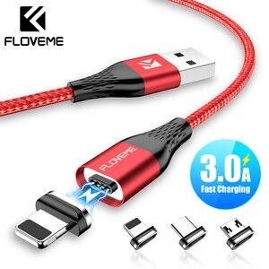 FLOVEME-Cable magnético de carga rápida para iPhone, Cable Micro USB tipo C de carga rápida para Samsung
