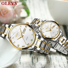 OLEVS Men watches lovers watch Couples brand Luxury date week Quartz Clock Stainless steel fashion waterproof relogio saat olevs women watches watch men fashion luxury rhinestone dress couple watch quartz watchreloj mujer saat relogio zegarek damski