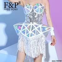 Holographic Fringe Bodysuit Drag Queen Costumes Jumpsuit Women Outfit Party Costumes Stage Celebrity Rompers Jumpsuit