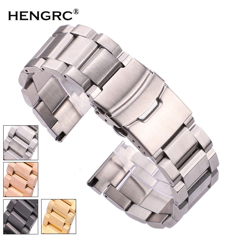 Black Stainless Steel Watchbands Bracelet 18mm 20mm 22mm 24mm Solid Metal Watch Band Men Strap Accessories(China)