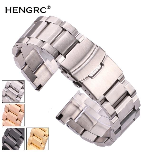 Black Stainless Steel Watchbands Bracelet 18mm 20mm 22mm 24mm Solid Metal Watch