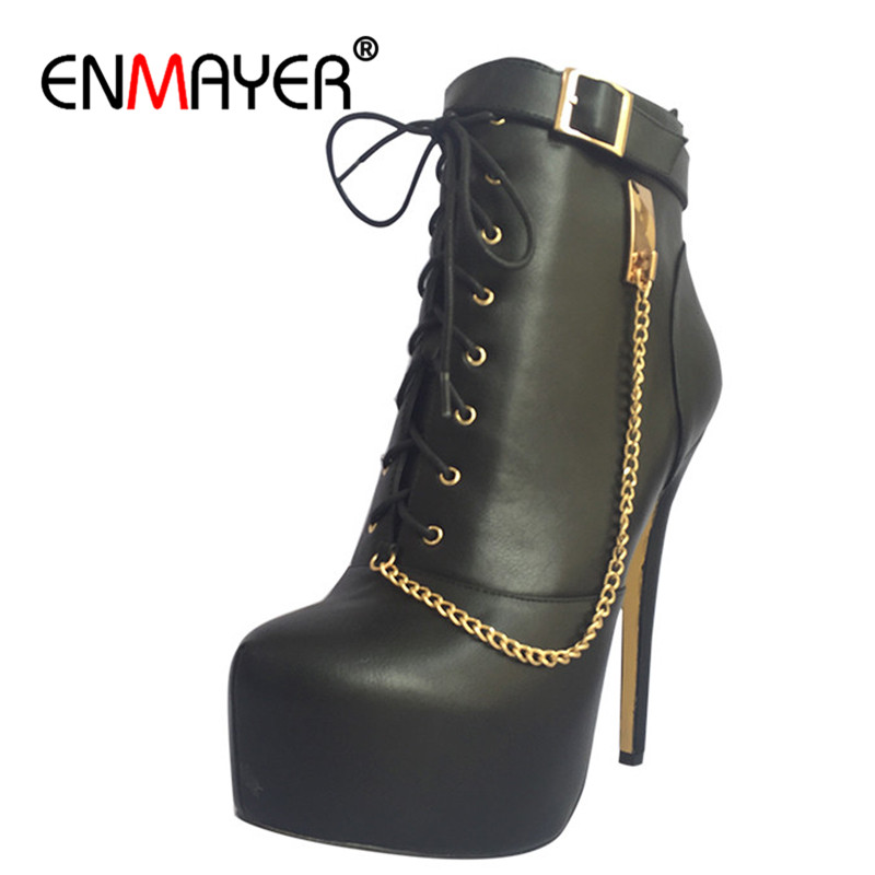 ENMAYER Superstar Women High Heels Round Toe Ankle Boots for Women Platform Shoes Winter Boots Plus Size 35-46 Motorcycle Boots enmayer low heels wedges shoes woman slip on knee high boots for women round toe winter warm boots tassels charms platform shoes