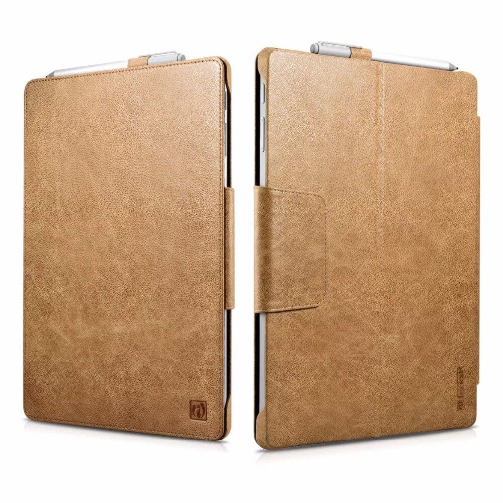 Icarer Elegant Business Vintage Genuine Leather Folio Case For Surface Pro 4 Retro Cowhide Leather Flip