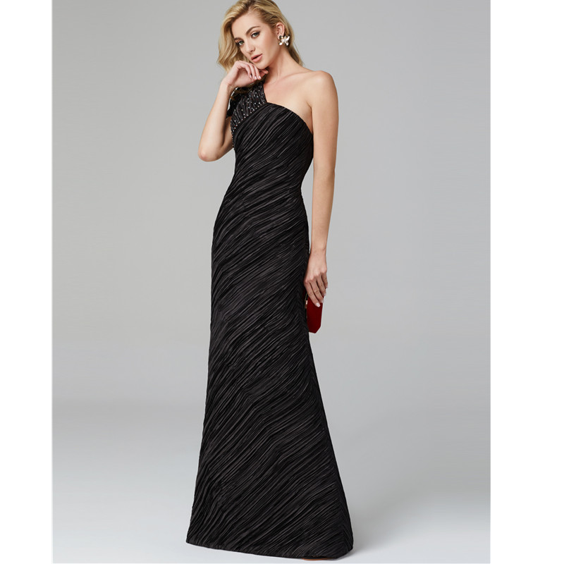 TS Couture Sheath / Column One Shoulder Floor Length Charmeuse Formal Graduation/ Black Tie Gala Dress