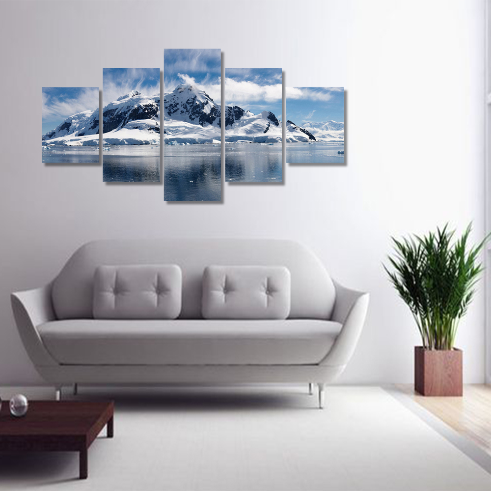 Unframed 5 panel HD Canvas Wall Art Giclee Painting Lake Snow Mountain Landscape For Living Room Home Decor Unframed
