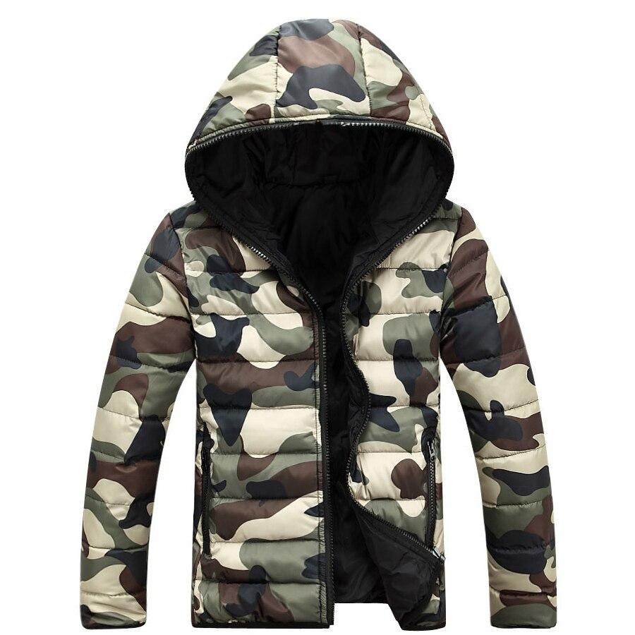 Камуфляж зимняя куртка-пуховик Для мужчин 2016 Для мужчин S зима Куртки и Пальто для будущих мам Doudoune Homme Hiver MARQUE Для мужчин S Подпушка куртка с капюшоном