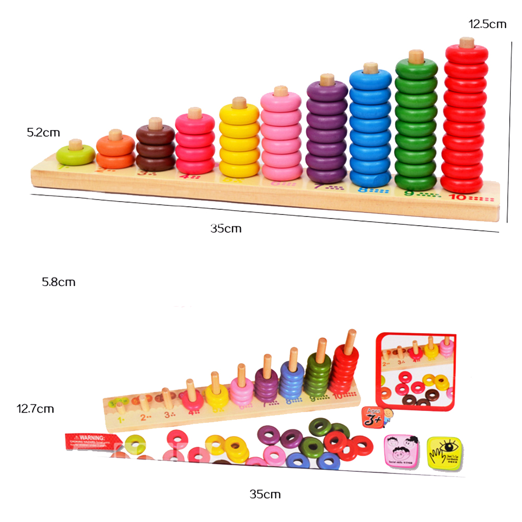 Kids toys Montessori Educational 10 Level Clouds Computation Beads Wooden Math Baby Toys Give your Children a birthday present