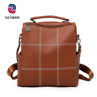 Fashion Korean Style Backpack Women Leather PU Vintage Rivets Brown Travel Bagpack For Teenage Girl Large Capacity Mochila Mujer