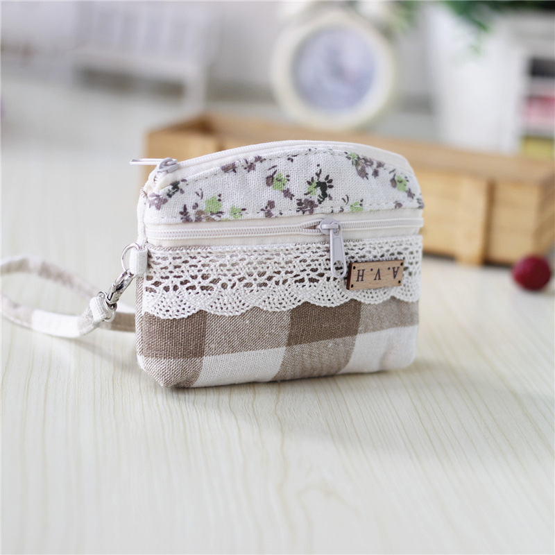 Women coin purses cotton plaid lace floral mini wallets key bags female small pouches carteiras bolsas feminina bolso for girls